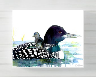 "Loon Canvas Print | ""Loon Love"" by Jess Buhman, Multiple Sizes, Select Your Size, Loon Painting, Cabin Art, Watercolor Loon"