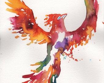 "Original Phoenix Painting, ""The Order of the Phoenix"" by Jessica Buhman 9"" x 12"" Original Bird Painting, Phoenix Art, Motivation Art"