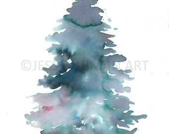 "Original Watercolor Painting, Titled: ""Pine"" by Jessica Buhman 8 x 10 Abstract Tree, Pine Tree, Christmas Tree Art"