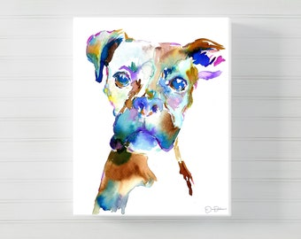 "Boxer Canvas Art  | ""Lacey"" by Jess Buhman, Canvas Dog Art, Watercolor Boxer Painting, Dog Painting, Watercolor Dog Print, Dog Art"