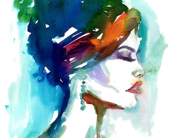 Portrait of Woman Watercolor Print, Print of Woman, Watercolor Woman, Watercolor Print. Fashion Illustration, Print for Her