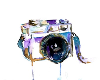 """Camera Watercolor Print, """"I Turn My Camera On"""" by Jess Buhman, Choose Your Size, Multiple Sizes"""
