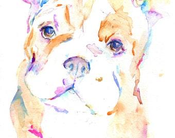 Bulldog Puppy Art, Bulldog Watercolor Print, 8 x 10 Print, Bulldog Painting, Dog Painting, Watercolor Dog, Print of Dog, Colorful Dog Art