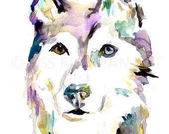 "Husky Watercolor Print | ""Husky"" by Jess Buhman, Multiple Sizes, Select Your Size, Husky Painting, Dog Painting, Abstract Husky Art, Dog Art"