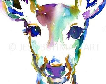 Deer Watercolor Print, Doe Watercolor Painting, Nursery Art, Abstract Deer Art, Colorful Deer Painting, Print of Deer, Watercolor Deer Art