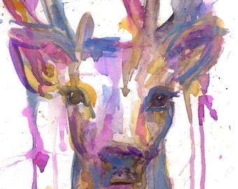 Buck Watercolor Print, Deer Watercolor Painting, Print of Buck, Antlers Painting, Christmas Deer Art, Christmas Painting, Winter Art