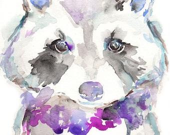 """Raccoon Watercolor Original, 9 x 12 Painting, """"Rosie the Raccoon"""" by Jess Buhman, Nursery Painting, Animal Art"""