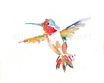 Hummingbird Watercolor Painting, Hummingbird Painting, Hummingbird Print, Bird Painting, Bird Flying Art, Print of Bird, Animal Painting
