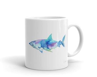 Shark Watercolor Mug, White Ceramic Shark Mug, Colorful Abstract Shark Mug with Artwork by Jess Buhman