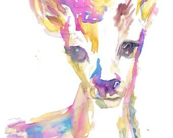 Baby Deer Watercolor Print, Print of Baby Deer, Baby Deer Painting, Deer Watercolor, Deer Print, Nursery Art, Nursery Watercolor, Deer Art