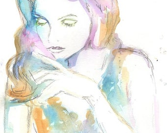 Watercolor Print of Woman, Watercolor Portrait, Fashion Illustration, Abstract Painting of Woman, Abstract Portrait, Pastel Painting