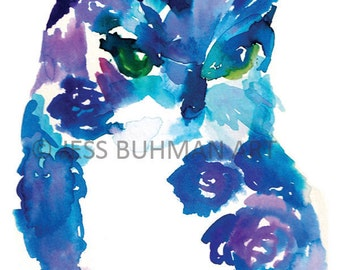 """Watercolor Owl Print, """"Oscar the Owl"""" by Jessica Buhman, Multiple Sizes, Select Your Size, Blue Bird Painting, Nursery Art"""