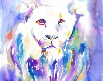 "Lion Watercolor Print, ""The Lion's Roar"" by Jess Buhman, Select Your Size, Multiple Sizes, Animal Art"