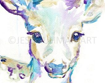 Baby Deer Watercolor Print, Nursery Deer Print, Deer Watercolor, Deer Painting, Baby Deer Art, Baby Animal Painting, Nursery Art, Fine Art