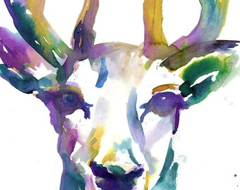 Buck Watercolor Painting Print, Buck Print, Watercolor Print of Deer, Deer Painting, Deer Watercolor, Woodland Painting, Woodland Art