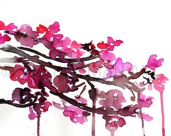 Beautiful Blooms Watercolor Painting Print, Cherry Blossoms Print, Floral Watercolor, Watercolor Flowers, Watercolor Painting