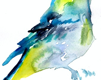 """Print of Original Watercolor Painting, Titled: """"Charlie the Tie-Dyed Bird"""" by Jessica Buhman 8 x 10 Blue Yellow Green Tie dye Funky Bird"""