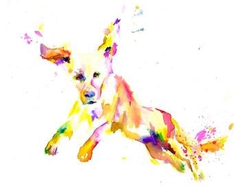 "Print of Watercolor Painting ""Cowabunga"" 8 x 10  Print of Original Watercolor Painting Pink Fuschia Orange Yellow Golden Retriever"
