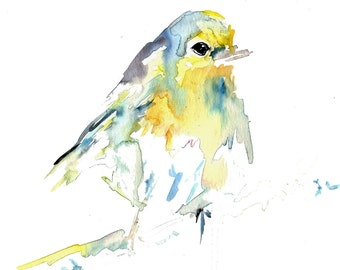 "Print of Original Watercolor Painting, Titled: ""Baby the Bird"" by Jessica Buhman 5 x 7 Portrait Style Yellow Blue"