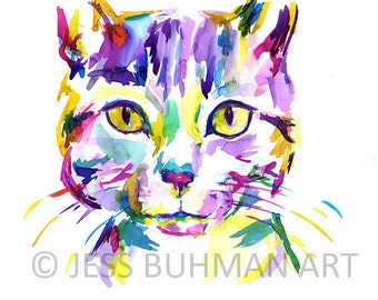 "Print of Watercolor Painting ""Tabitha"" 8 x 10 Original Watercolor Painting Tabby Cat Abstract Colorful"