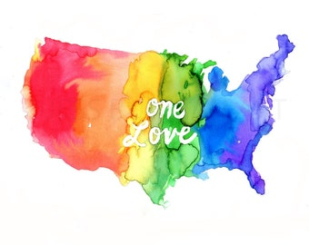 "Watercolor Gay Pride Print, ""One Love"" by Jess Buhman, Rainbow Map, Celebrate Love,  8 x 10 Print"