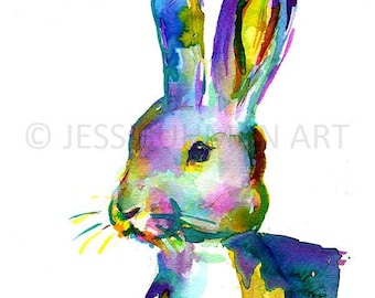 "Rabbit Painting, Bunny Painting, ""Hare"" 8 x 10, Nursery Rabbit Painting, Nursery Art, Watercolor Rabbit, Watercolor Bunny, Print of Bunny"