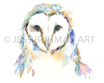 Barn Owl by Jessica Buhman Print of Original Watercolor Painting Pink Blue Owl Art