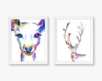 "Deer Set, Set of 2 Watercolor Prints, Buck Painting, Deer Painting, Colorful Art, Watercolor Art, Wedding 8"" x 10"" prints His and Hers"