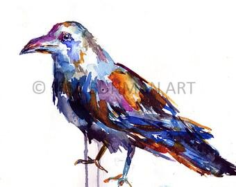Crow by Jessica Buhman, Print of Original Watercolor Painting, 8 x 10 Crow Black Bird Painting