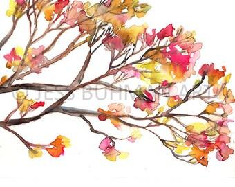 Tree Watercolor Print, Fall Watercolor Painting, Autumn Painting, Tree Painting, Print of Tree, Branches Art, Leaves Art, Fall Art