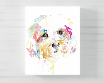 "Terrier Canvas Print | ""Mrs. Sophie"" by Jess Buhman, Multiple Sizes, Canvas Dog Art, Dog Print, Shih Tzu Painting"