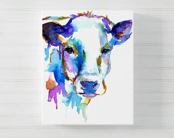 "Canvas Cow Print | ""Cow"" by Jess Buhman, Choose Your Size, Multiple Sizes, Watercolor Animal Painting, Nursery Art"