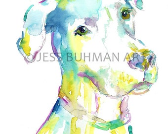 """Print of Watercolor Painting """"Have I Told You Lately That I Love You?"""" 8 x 10 Pet Dog Painting Labrador Lab Blue Yellow"""