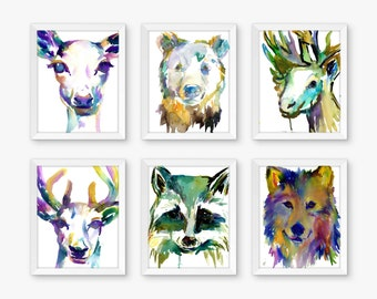 Bold Woodland Set of 6 Watercolor Prints, Nursery Art, Watercolor Nursery Prints, Animal Paintings, Animal Art, Print Set, Zoo Animal Prints