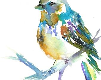 Print of Original Watercolor Painting, Titled: Winter Bird by Jessica Buhman Yellow Bird Green Purple Blue