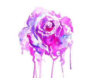 Print of Rose Watercolor, Rose Watercolor Painting, Floral Painting, Floral Watercolor, Pink Rose Art, Abstract Flower Art,