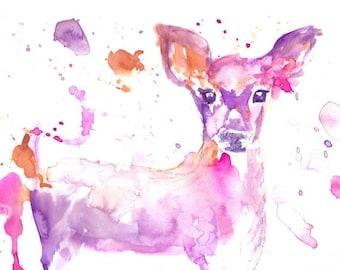 Baby Deer Watercolor Print, Print of Baby Deer, Nursery Art, Nursery Watercolor, Deer Painting, Deer Watercolor Print, Deer Illustration
