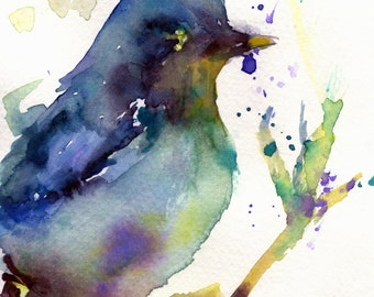 "Print of Original Watercolor Painting, Titled: ""Leroy, the Bird"" by Jessica Buhman 8 x 10 Splatter Paint Blue Yellow Green Purple Splash"