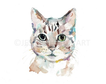 "Cat Print, ""Shade"" by Jess Buhman, Watercolor Print of Cat, Multiple Sizes, Select Your Size, Pet Art"