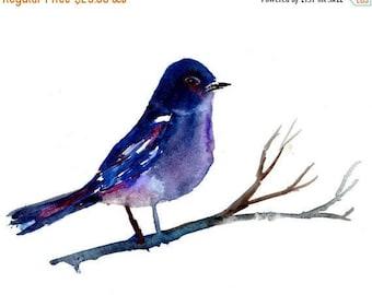 ON SALE Watercolor Bird Print, Purple Bird Art, Abstract Bird Painting, Woodland Art, Nursery Art, Colorful Art, Bird Painting, Print of Bir