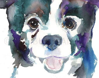 Papillon Dog Watercolor Print, Papillon Art, Dog Painting, Dog Watercolor, Dog Illustration, Pet Portrait, Abstract Dog Painting