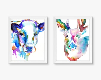 "Bold Duo, Set of 2 Watercolor Prints, Cow Painting, Deer Painting, Colorful Art, Bold Watercolor Art. Nursery Paintings 8"" x 10"" prints"