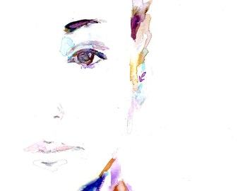 """Portrait of Woman, """"Ariana"""" by Jess Buhman, Print of Woman, Watercolor Woman, Watercolor Print. Fashion Illustration, Print for Her"""