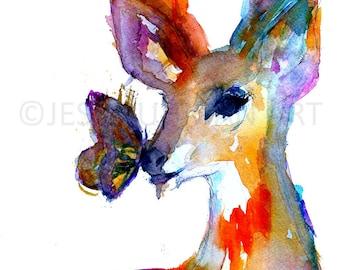 "Deer Watercolor Painting Print | ""Butterfly Kisses"" by Jess Buhman, Select Your Size, Deer Painting, Painting of Deer,  Nursery Art"