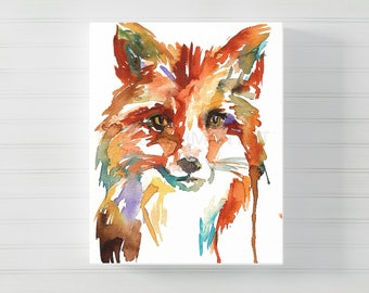 "Canvas Fox Print | ""Little Fox"" by Jess Buhman, Watercolor Print on Canvas, Choose Your Size"