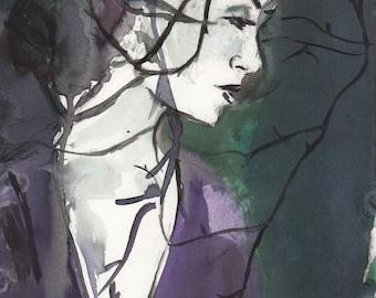 Lost by Jessica Buhman, Print of Original Watercolor Painting, Watercolor Woman Print, Print of Woman, Watercolor Woman
