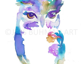 Owl Watercolor Print, Print of Owl, Owl Painting, Nursery Art, Print of Bird, Owl Print, Colorful Owl Art, Abstract Owl Art, Animal Painting