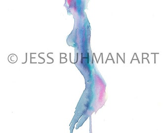 Ballerina Art Print, Dancer Painting, Gymnast Painting, Gymnast Art, Abstract Art, Pink Art, Blue Art, Watercolor Print, Abstract Woman Art