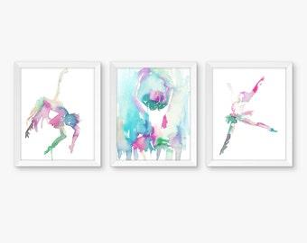 Dancers Set of 3 Watercolor Prints, Nursery Art, Watercolor Nursery Prints, Dancer Paintings, Dancer Watercolors, Ballerina Art, Dancer Art