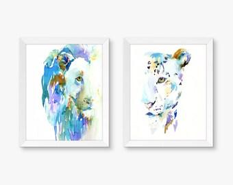 """Big Cats Half Face, Set of 2 Watercolor Prints, Lion Painting, Leopard Painting, Big Cats Prints, Watercolor Lion, Cat Art 8"""" x 10"""" prints"""